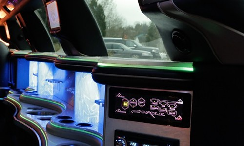 stretch limo interior bar